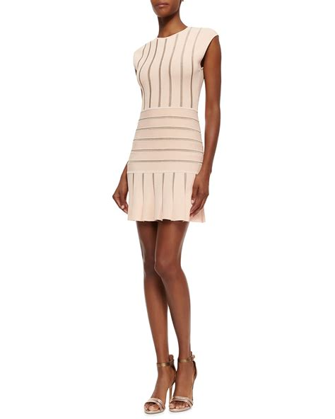 light pink metallic dress ronny kobo sleeveless metallic stripe dress in pink light