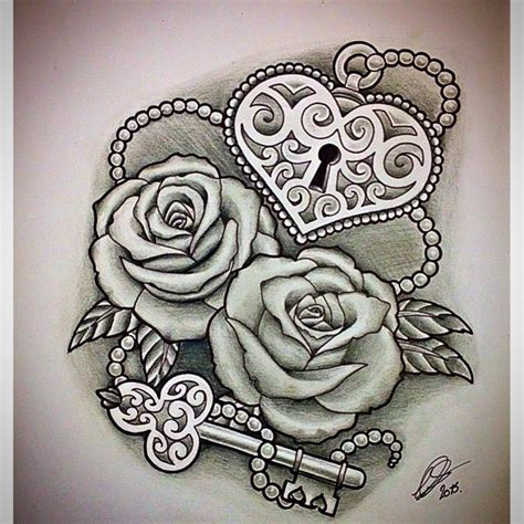 heart shaped rose tattoo best 25 lock key tattoos ideas on with