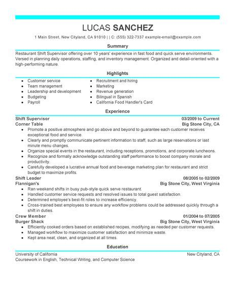 Restaurants Supervisor Resume by Best Shift Supervisor Resume Exle Livecareer