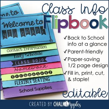 Welcome Back To School Flipbook For Meet The Teacher Night Editable Flip Book Flip Book Templates For Teachers