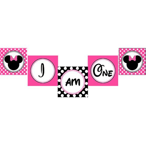 free printable one banner instant download diy minnie mouse pink printable birthday