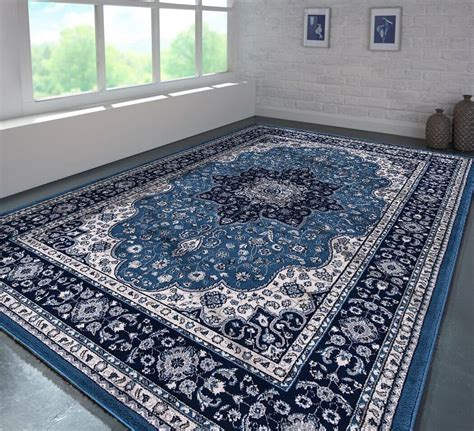 blue traditional large rugs    cm shaggy rugs