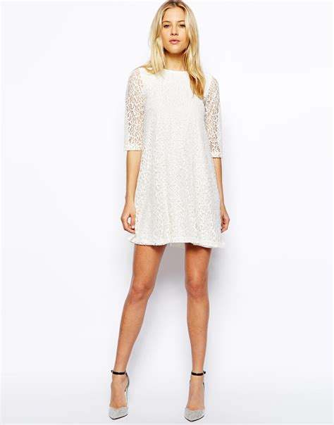 white swing dress asos exclusive lace swing dress in white lyst