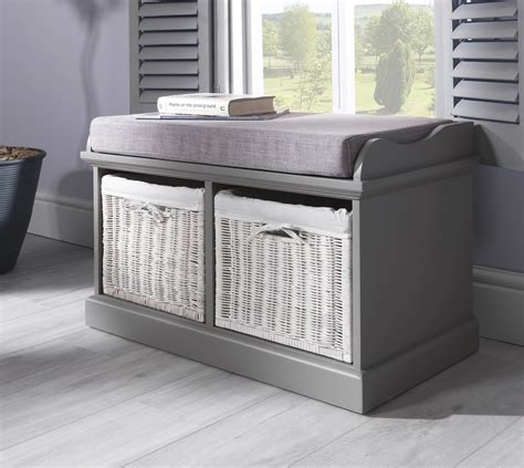 storage bench with cushion and baskets tetbury bench with 2 white baskets hallway storage bench