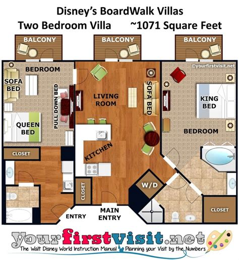 boardwalk villas one bedroom floor plan accommodations and theming at disney s boardwalk villas