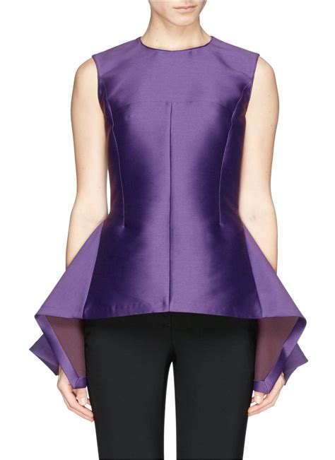 stella mccartney duchesse satin sleeveless peplum top