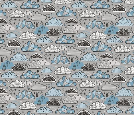 doodle blue clouds bolts lightning raindrops geometric patterned cloud