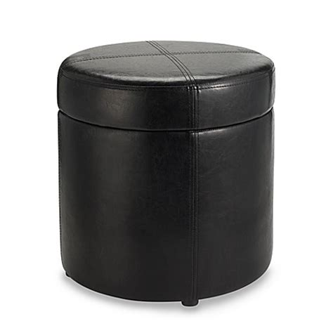 black round leather ottoman round black faux leather storage ottoman bed bath beyond