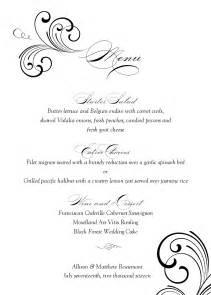 free wedding menu templates for microsoft word black swirl wedding menu
