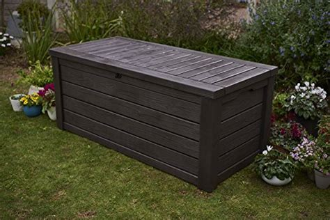 Keter 150 Gallon Patio Storage Bench Deck Box - keter westwood plastic deck storage container box outdoor