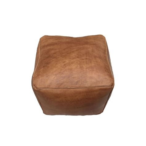 Pouf Ottoman Leather Pouf Ottoman Brown Leather Large Cube In