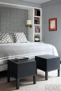 Bookcase Around Bed Jonathan Adler Greek Key Wallpaper Contemporary