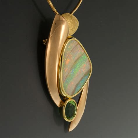 tourmaline opal 18k yellow green pink gold pin pendant w boulder opal
