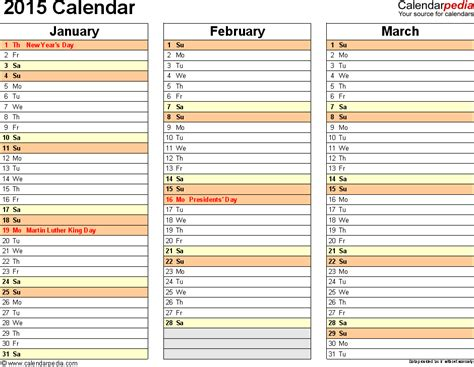 4 month calendar template 2014 best photos of 2015 month calendar template excel free