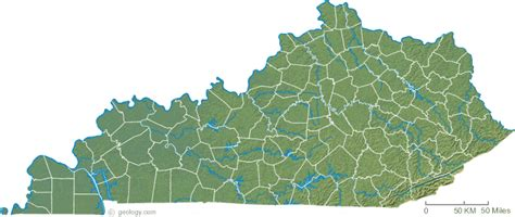 physical map of kentucky kentucky physical map and kentucky topographic map