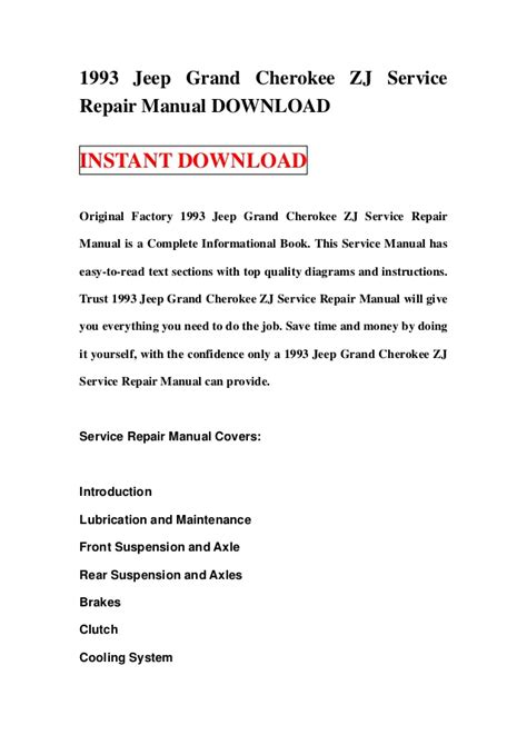how to download repair manuals 1993 jeep cherokee electronic valve timing 1993 jeep grand cherokee zj service repair manual download