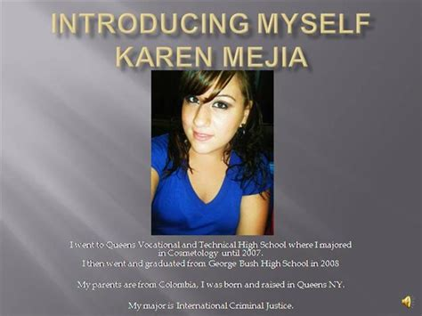 Introducing Myself Karen Mejia Authorstream Introduce Yourself Ppt