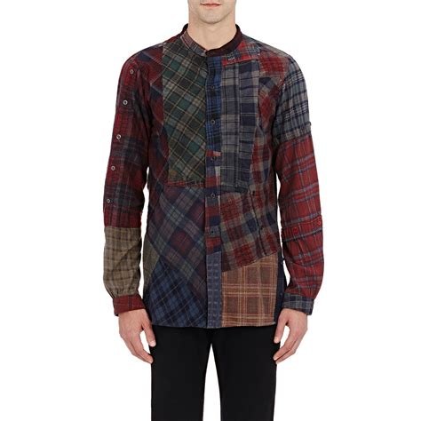 Patchwork Shirts - needles s plaid patchwork shirt in black for lyst