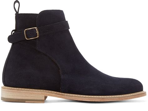 handmade mens navy blue ankle boots ankle suede