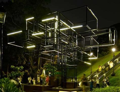 Outdoor Light Installation Abstract Arboreal Structures Farm Singapore Light Installation