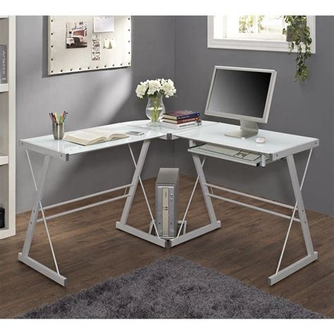 White Computer Desks White L Shaped Desk Office White Corner Desk Metal