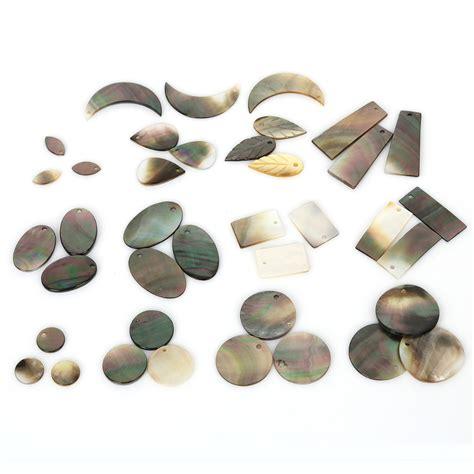 Handmade Jewelry Supplies Wholesale - 6pcs multisize black shell charms handmade