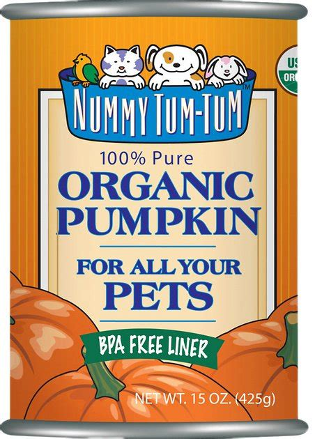 canned pumpkin for dogs nummy tum tum organic pumpkin canned cat food supplement 15 oz of 12