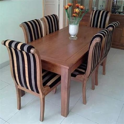 Kursi Bayi Kayu kursi makan lengkung modern kayu jati 6k cahaya mebel jepara
