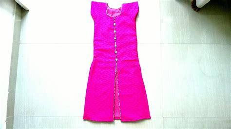 neck design cutting pattern front slit churidar top cutting and stitching thread
