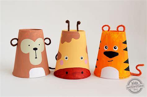 Paper Cup Animals Craft - foam cup crafts set of 3 safari animals