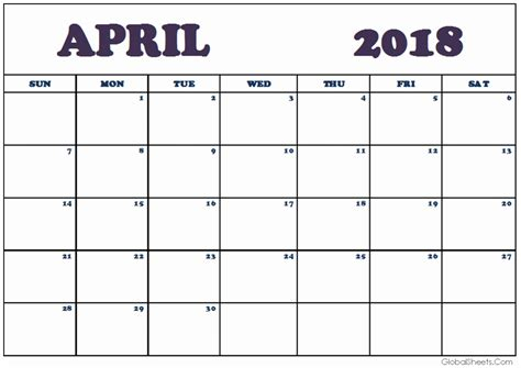 april 2018 calendar printable page april 2018 monthly calendar printable