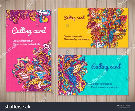 different business card templates colorful business cards template different floral stock