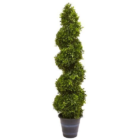 nearly natural indoor and outdoor 48 in boxwood spiral