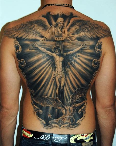 religious back tattoos fantastic black ink jesus on cross with and gargoyle