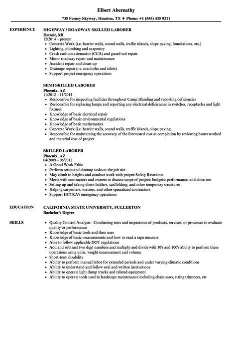Laborer Resume by Sle Resume For Laborer General Laborer Sle Resumes
