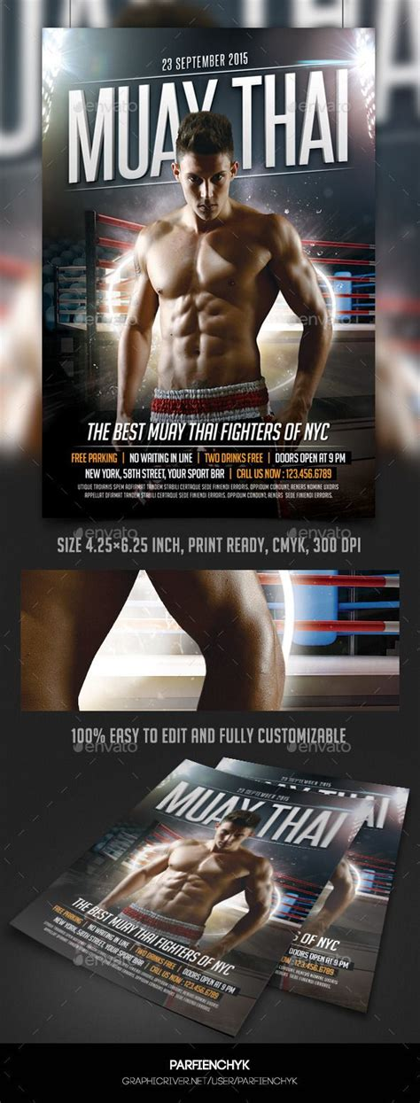 Muay Thai Fight Flyer Template Flyer Template And Event Flyer Templates Kicks Flyer Template 2