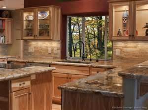 hickory cabinets travertine backsplash  hickory kitchen cabinets hickory kitchen and hickory cabinets