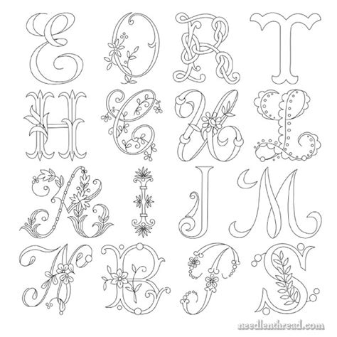embroidery templates letters embroidered monogram delicate spray a c