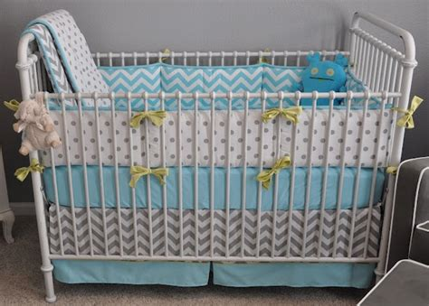 Grey And Aqua Crib Bedding Gray White Aqua Baby Bedding With Lime Green Bow Accents Babyyyy Pinterest Inspiration