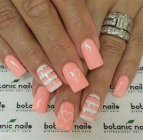 color nail designs pink nails color nails with silver and white