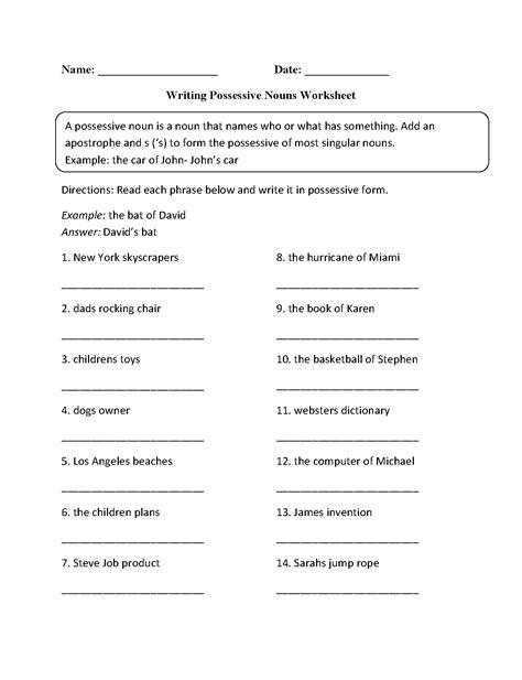 Possessive Nouns Worksheet by Possessive Adjectives Worksheet Agreement Of