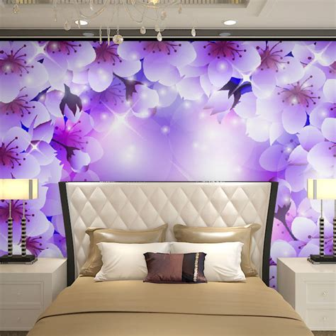 purple wallpaper for bedroom walls beibehang wall panels purple white floral flowers papel de