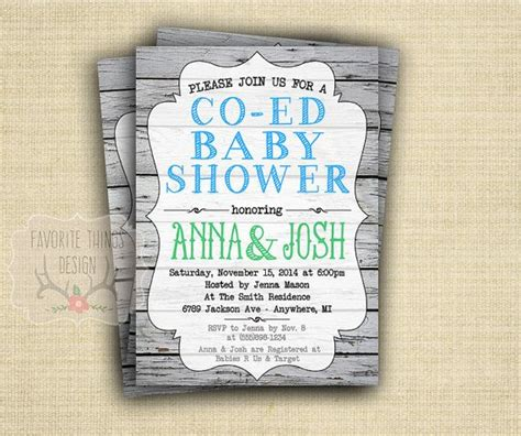 Co Ed Baby Shower Wording co ed baby shower invitation coed baby shower invite green and blue wood background digital