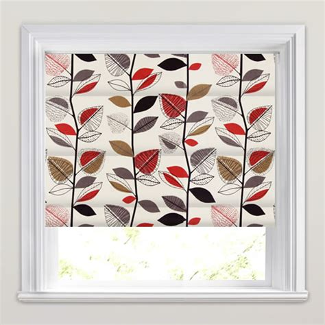 black patterned roman shades contemporary red brown black beige leaves patterned