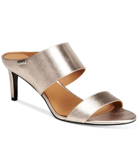 klein sandals calvin klein s cecily wide sandals in metallic