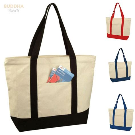 1 dozen large zippered cotton canvas grocery shopping tote