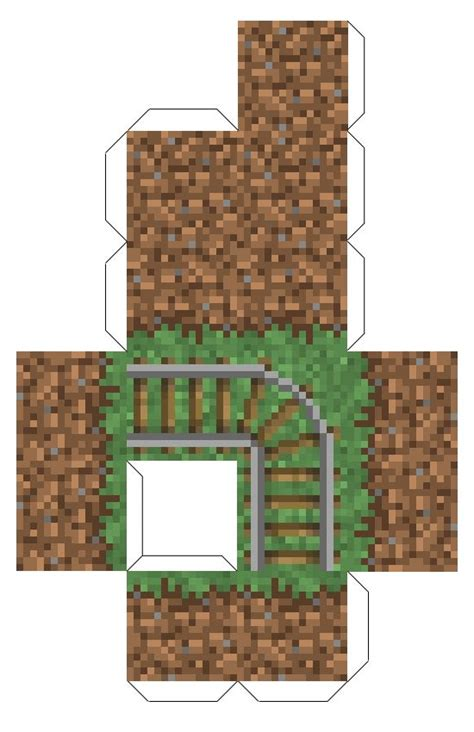 Minecraft Papercraft Grass - papercraft grass block with rails connors stuff