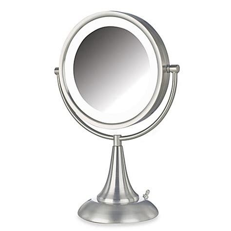 bathroom vanity mirrors brushed nickel buy jerdon 8x 1x led 15 inch lighted vanity mirror in
