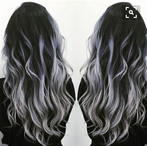 silver highlighted hair styles black to gray silver balayage hair tips hair care