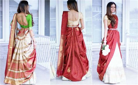 how to drape a lehenga style saree half saree styles 7 ways to wear half saree with lehenga
